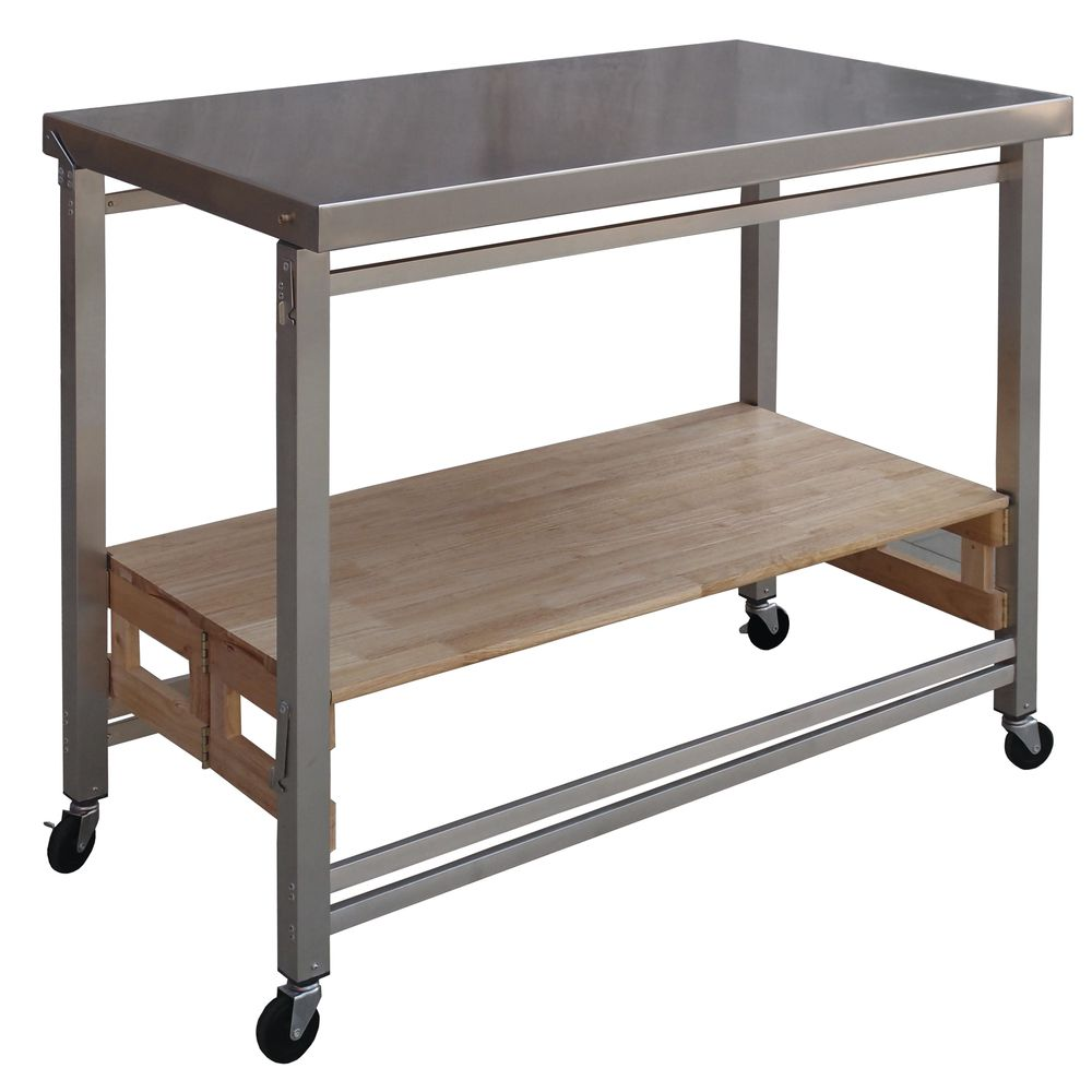 Flip And Fold Rolling Table Stainless Steel Wood: Grey Stainless Steel Flip And Fold Mobile Cart