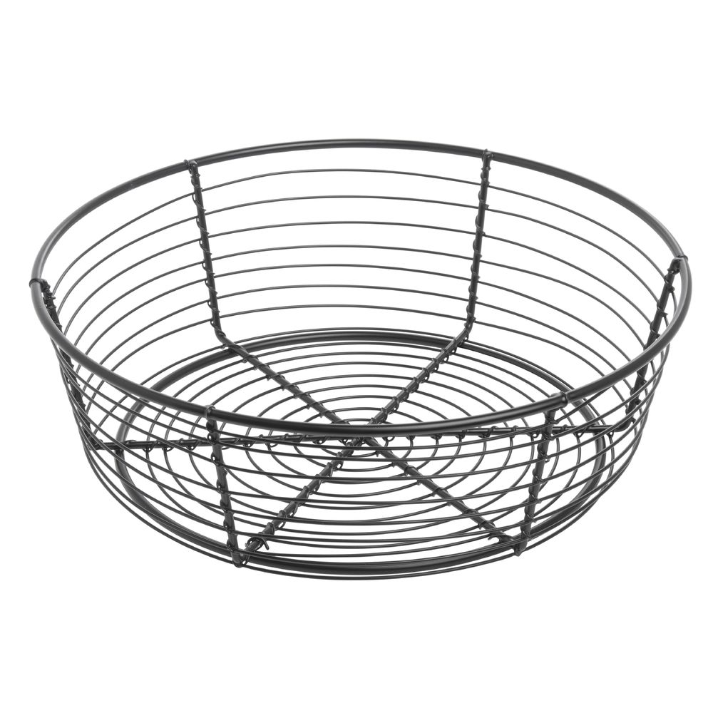 Round Black Wire Serving Basket - 10Dia x 3 1/4H