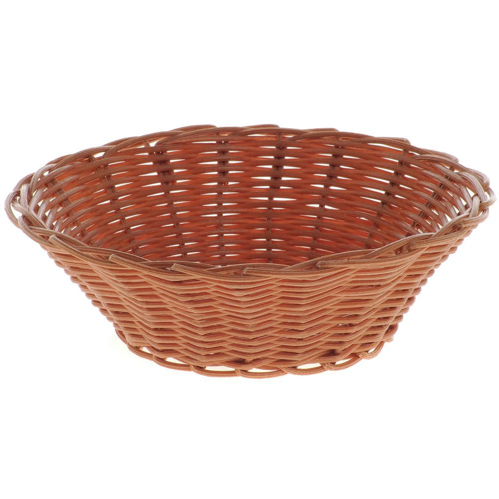 Hubert Round Brown Woven Polypropylene Bread Basket 7 Dia X 2 H
