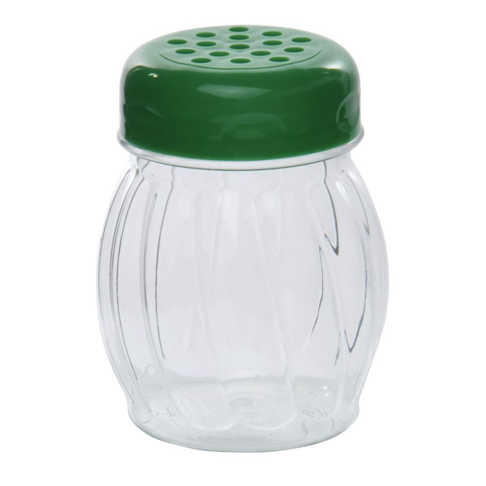 SHAKER, GLASS, PERF, PLSTIC TOP, 6 OZ, GREEN