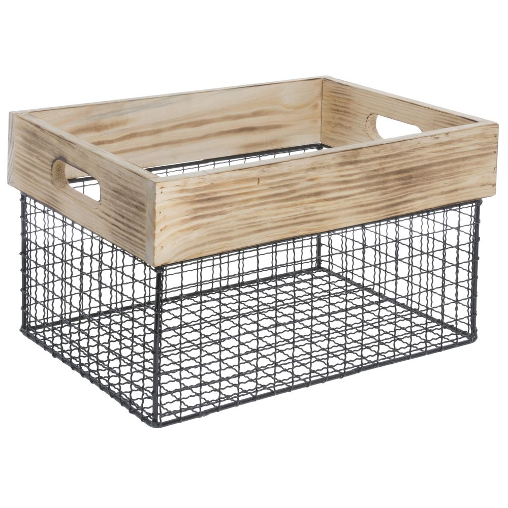 BASKET, WOOD + IRON WIRE, MEDIUM, RECT