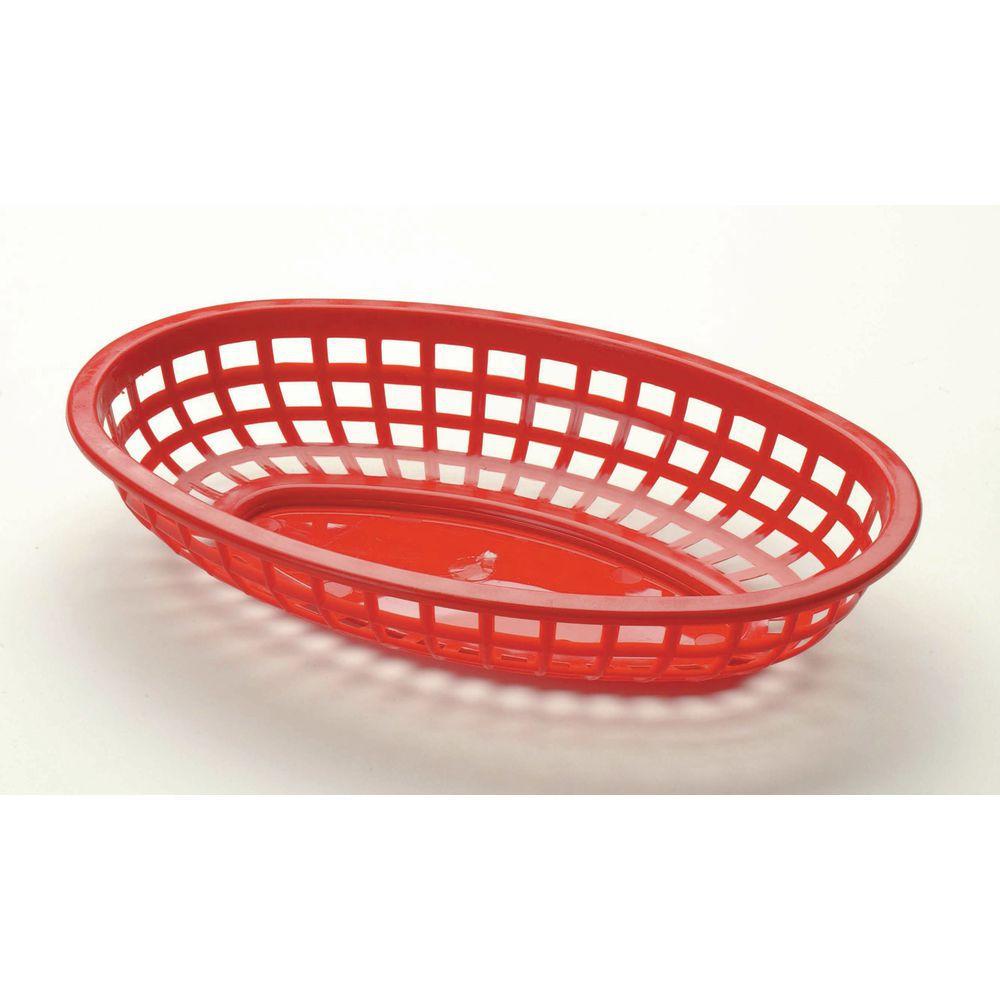 BASKET, PLASTIC, RED, 9-3/8 X 6 X 1-7/8