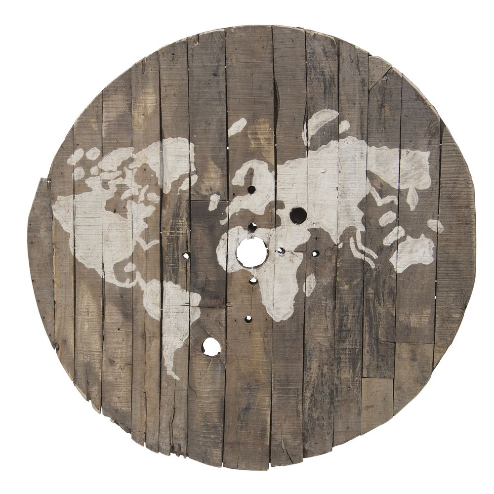 Round Repurposed Wood World Map Wall Art - 42\