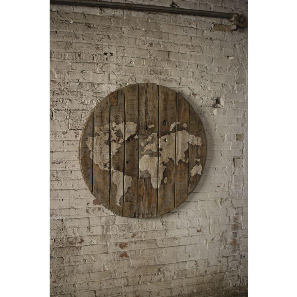 WALL ART, WORLD MAP, WOOD, 42 DIA X 4