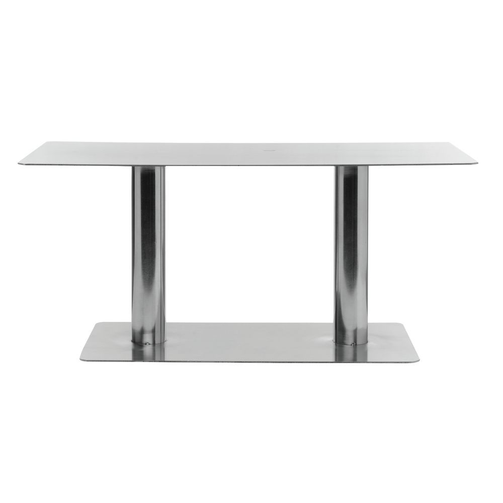 "Rectangular Metal Pedestal 18""L x 9""W x 8""H Stainless Steel"