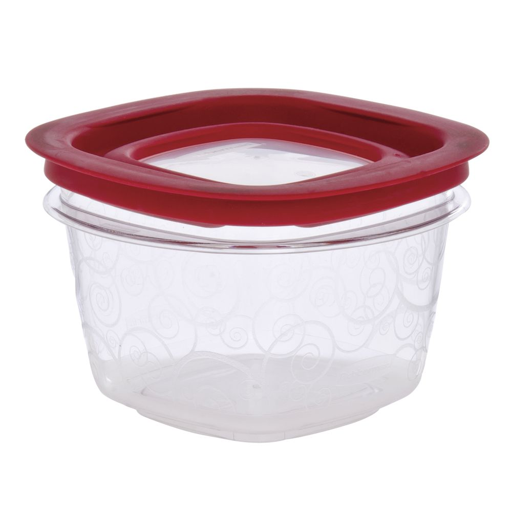 Rubbermaid 2 cup Clear Plastic Food Box With Lid 5L x 5W x 3 38H