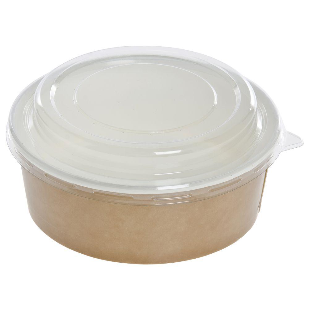 19 Oz Kraft Paper Food Pot With Clear Plastic Lid 4 38Dia x 3H