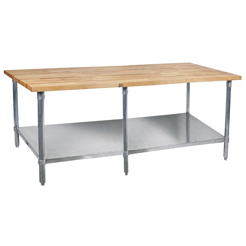 TABLE, MAPLE, S/S W/SHELF 96X30, 6 LEGS