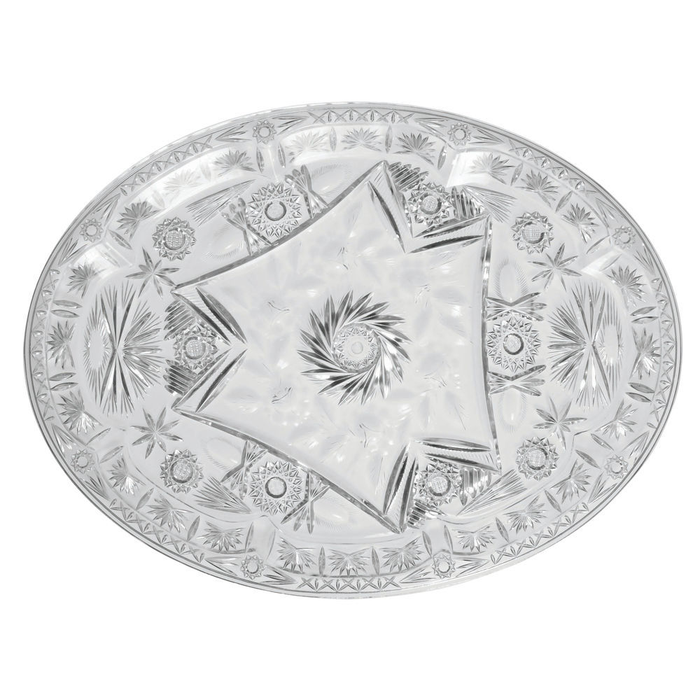 "Heavyweight Cut Glass-Like Serving Tray with Pedestal Clear Plastic 13 1/2""L x 7""W x 3 3/4""H"