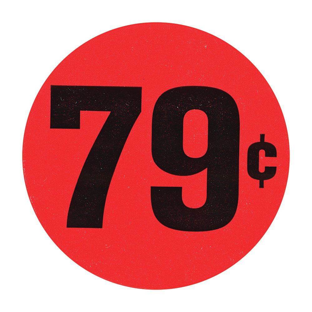 Red 79 large price point price tag labels black imprint 1 12dia label red flr 79 cents buycottarizona Gallery