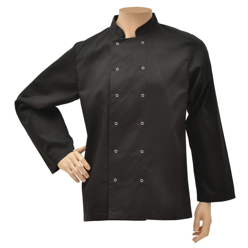 JACKET, CHEF, UNISEX, BLACK, LARGE, LONG