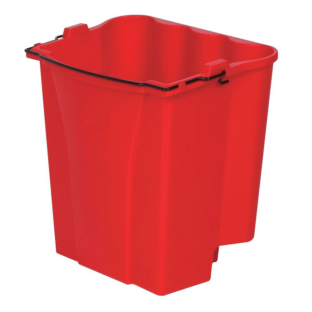 Red 18 Qt. Mop Bucket With Wringer has a side press dual water combo