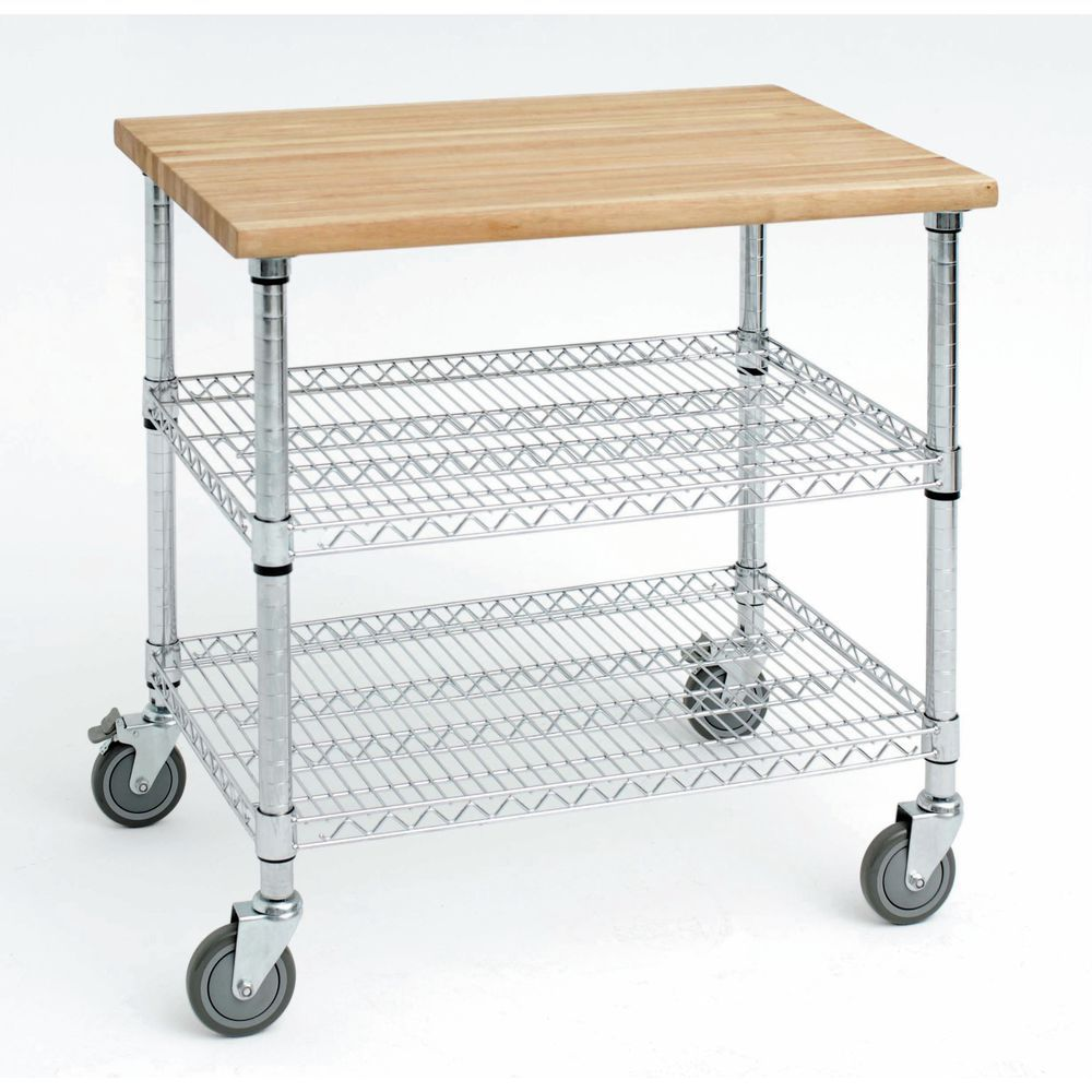 Wire Kitchen Cart: Expressly HUBERT® Stainless Steel Kitchen Cart With Solid