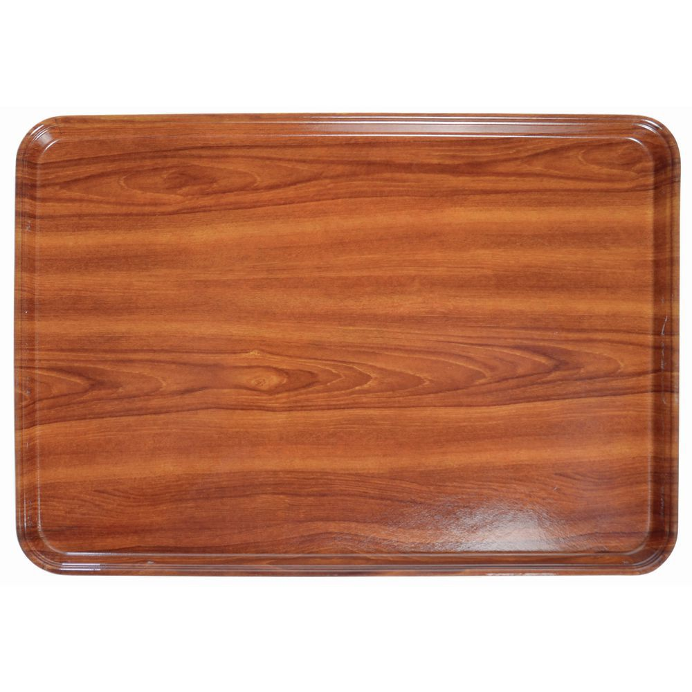 Cambro Fiberglass Burma Teak Wood Look Display Tray 26 L X 18 W X 1 H