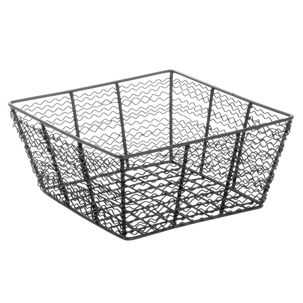 Expressly HUBERT® Corkscrew Tapered Wire Basket Black 10-3/16L x 10-3/16W x 4-11/12H
