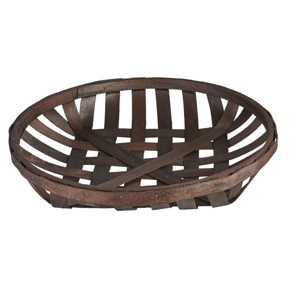 """Expressly HUBERT Round Chip Wood Tobacco Basket 12 1//2/""""Dia x 2 3//4/""""H"""