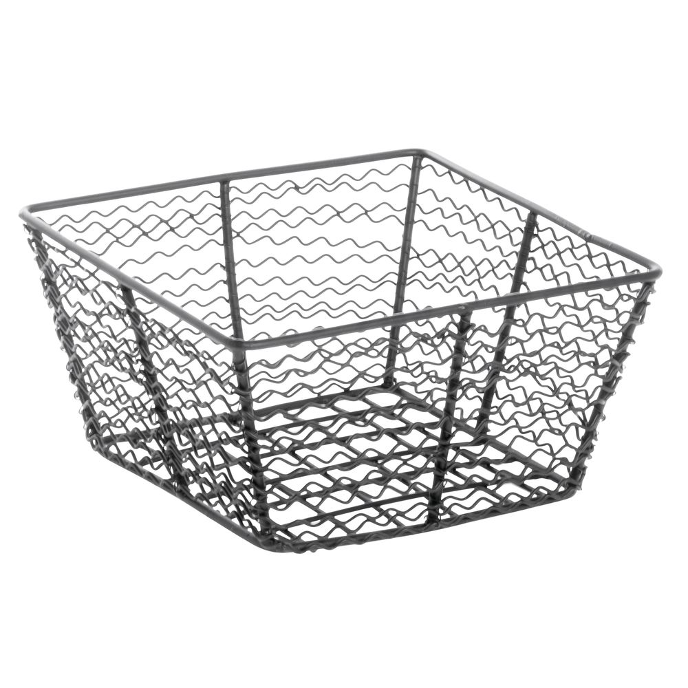 Expressly HUBERT® Corkscrew Tapered Wire Basket Black 8-1/4L x 8-1/4W x 3-15/16H|Expressly HUBERT® Corkscrew Tapered Wire Basket Black 8-1/4L x 8-1/4W x 3-15/16H