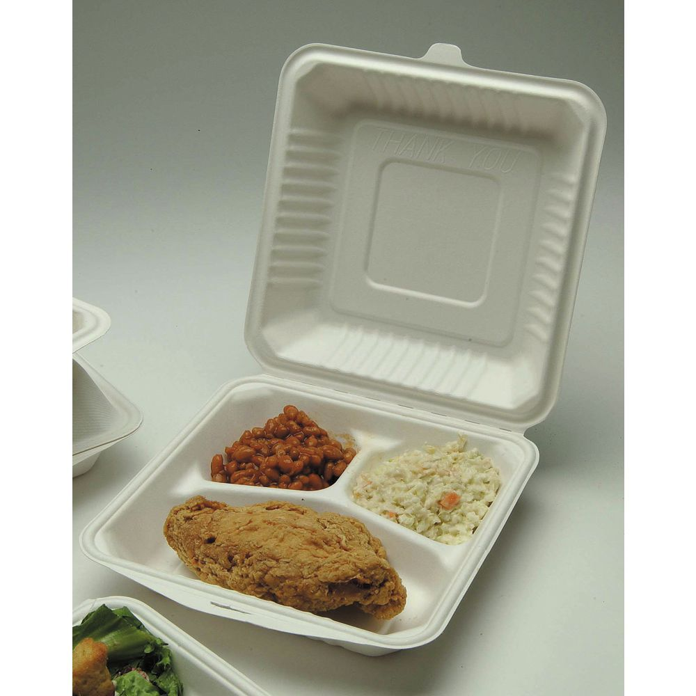 White Molded Fiber 3 Compartment Clamshell Containers 9L x 9W x 3H