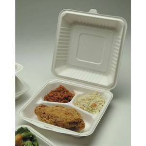 "CLAMSHELL, MOLDED FIBER, 9""SQ 3-COMPARTMNT"