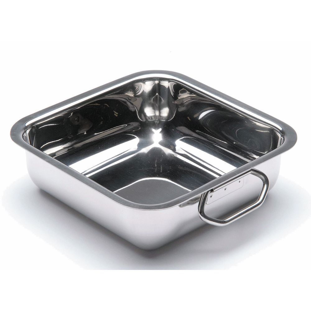 """Square Balti Pans with Handles Stainless Steel Tray 6""""L  x  2 1/4""""H"""