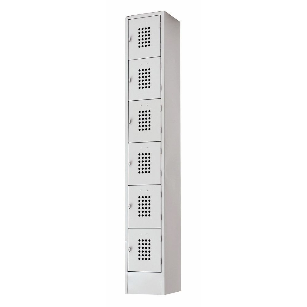 LOCKER, 6TIER, 12X18X72, PERF, GREY
