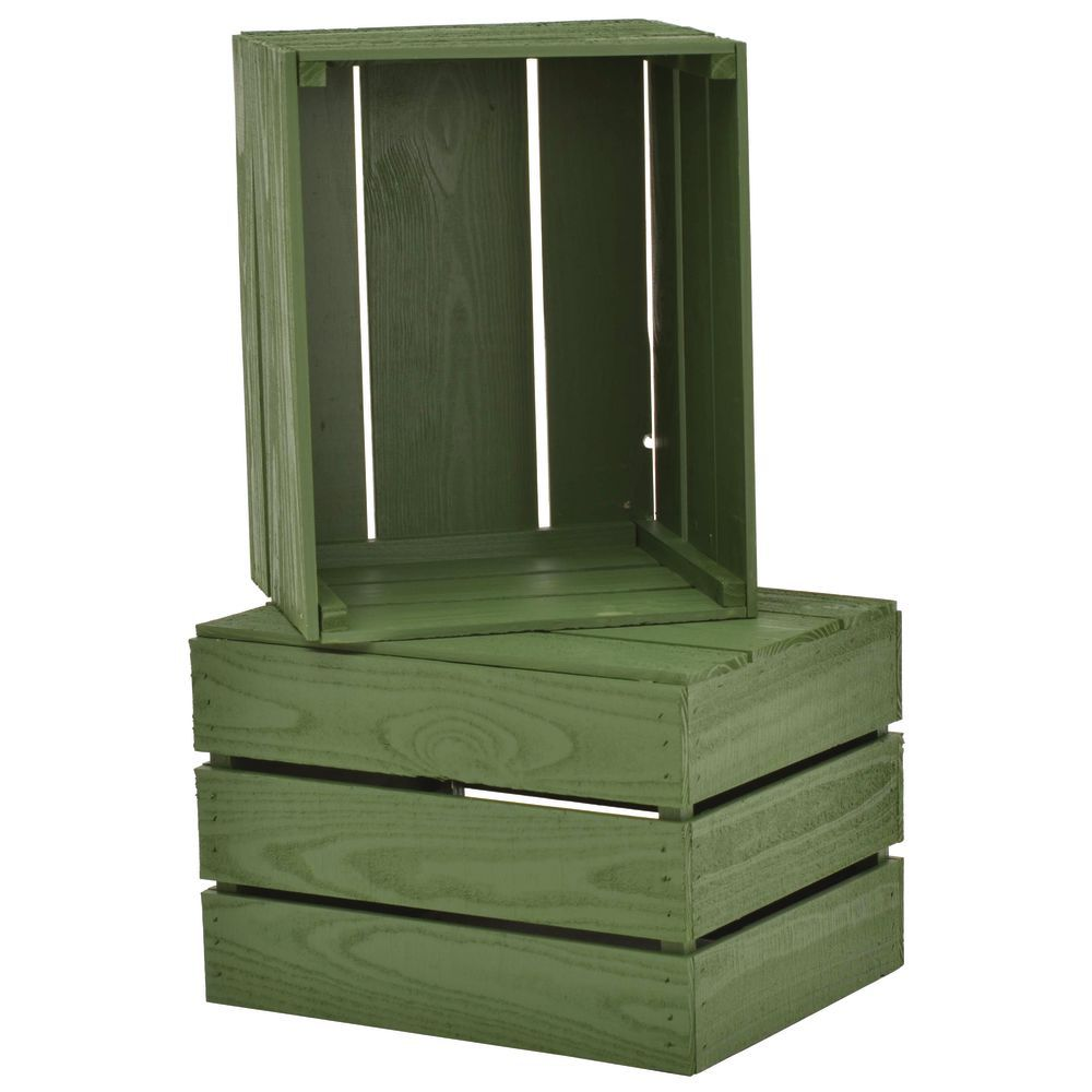 CRATE, STACKING, HUNTER GREEN SOLID PINE, 1