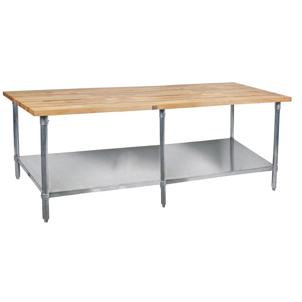 nice Boos Prep Table Part - 16: John Boos Stainless Steel Maple Top Work Table With Shelf - 120L x 30W x 36H