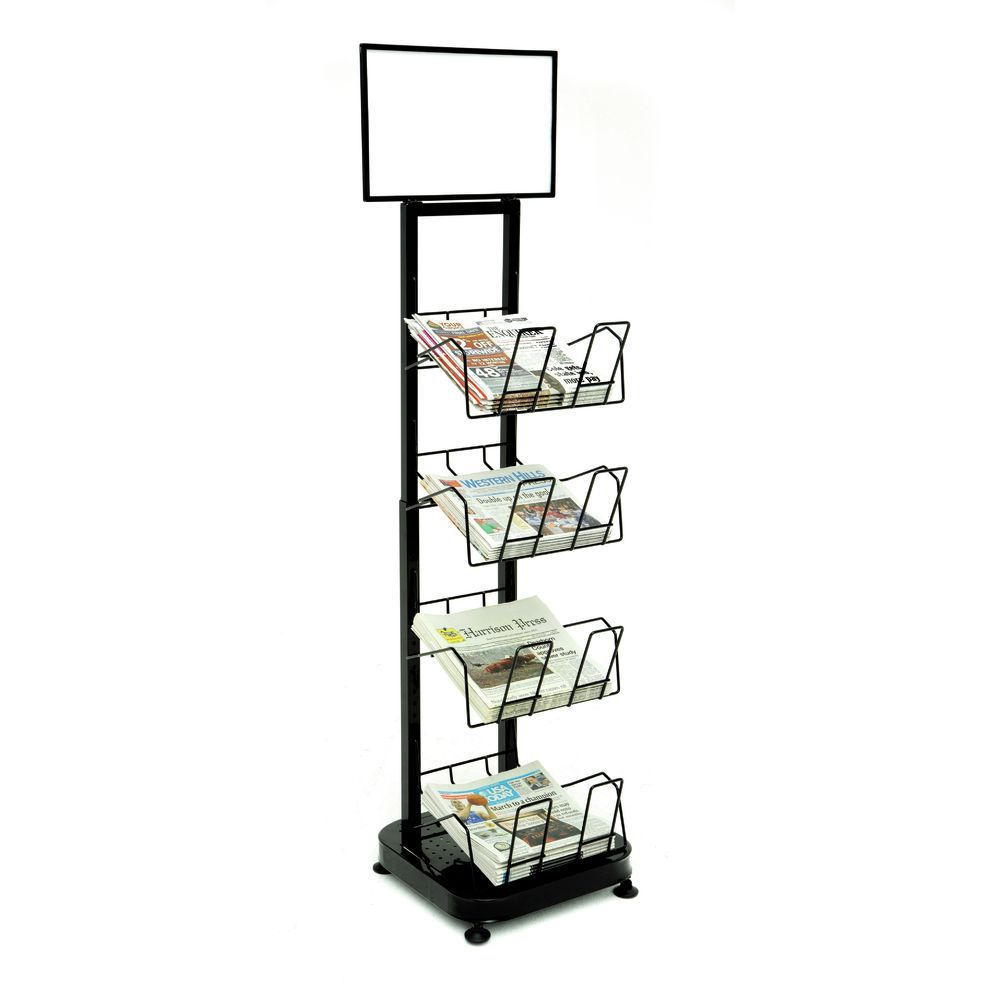 Newspaper rack 1 Wire Merchandiser Newspaper 47 Neweggcom Mobile Merchandisers Adjustable Black Metal Rack 16 12