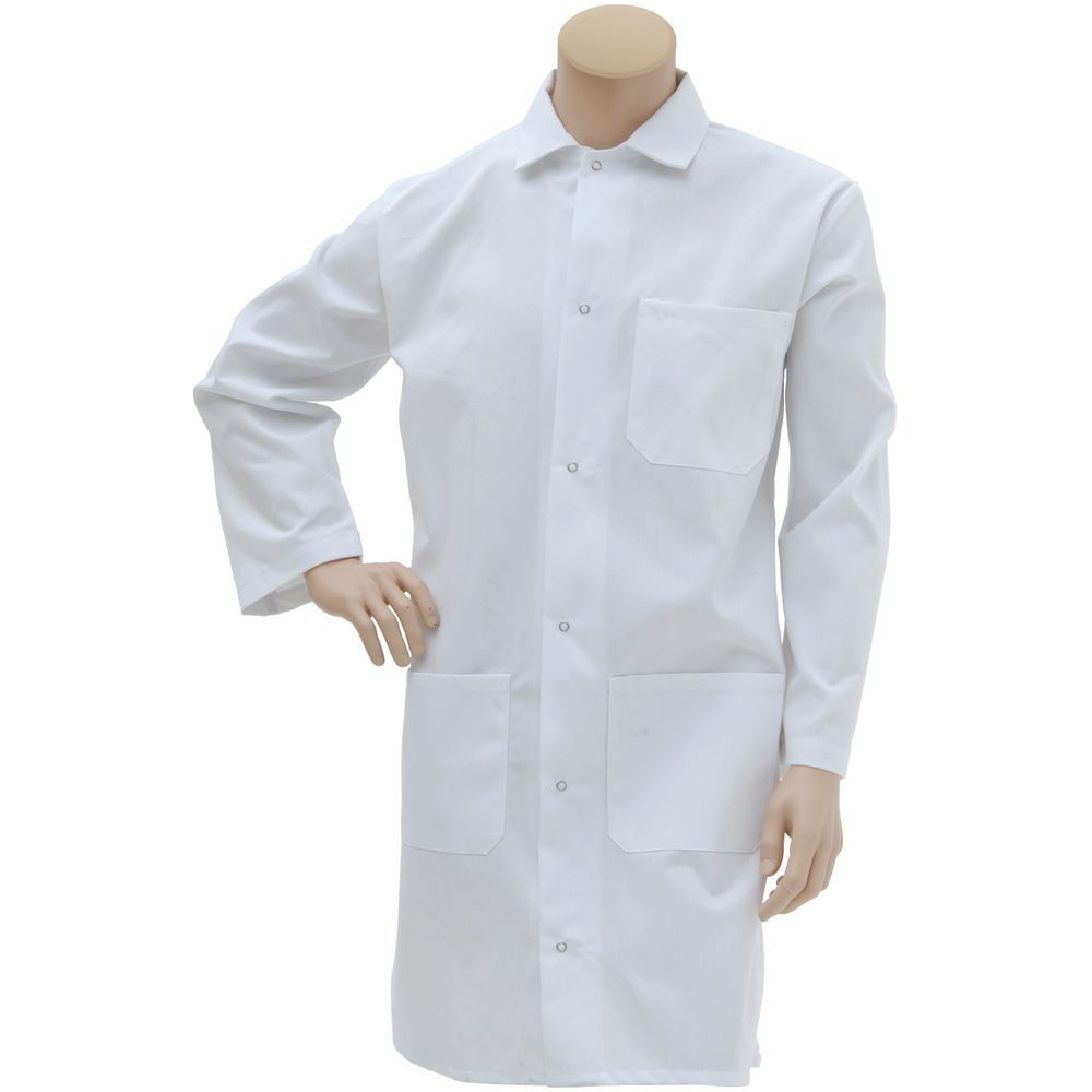 BUTCHER FROCK, WHITE, LARGE, 100% SPUNPOLY