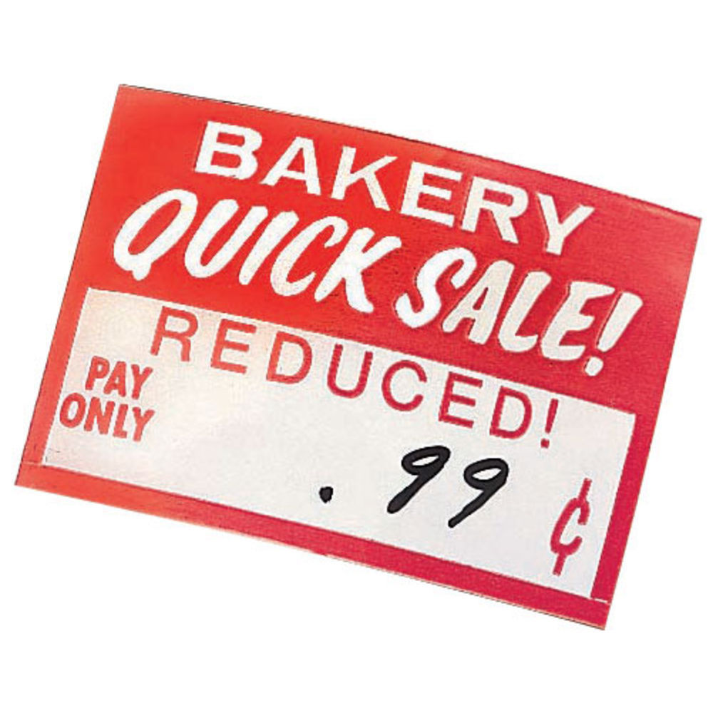 """Quick Sale Grocery Store Labels 2""""L x 1 1/4""""H Red And White"""