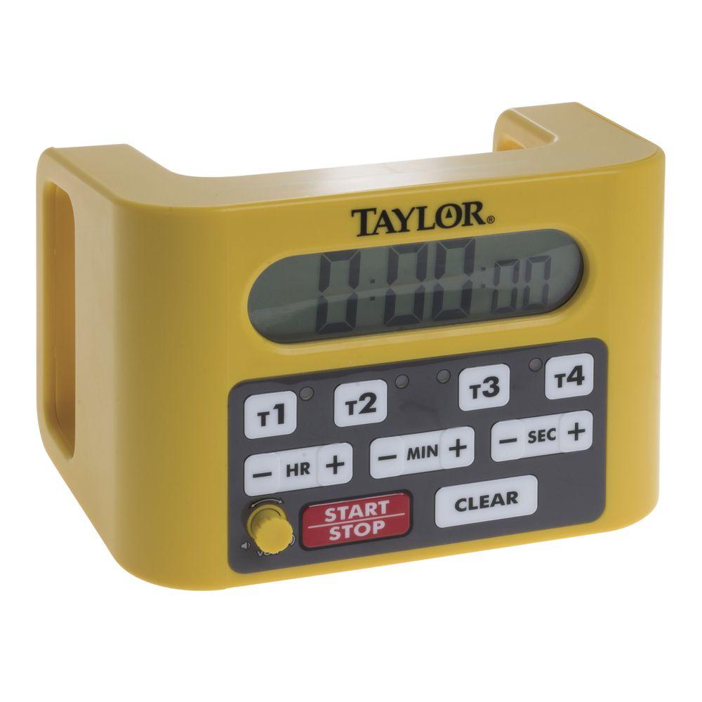 Taylor Yellow Plastic 4 Channel Digital Kitchen Timer - 6 1/4\