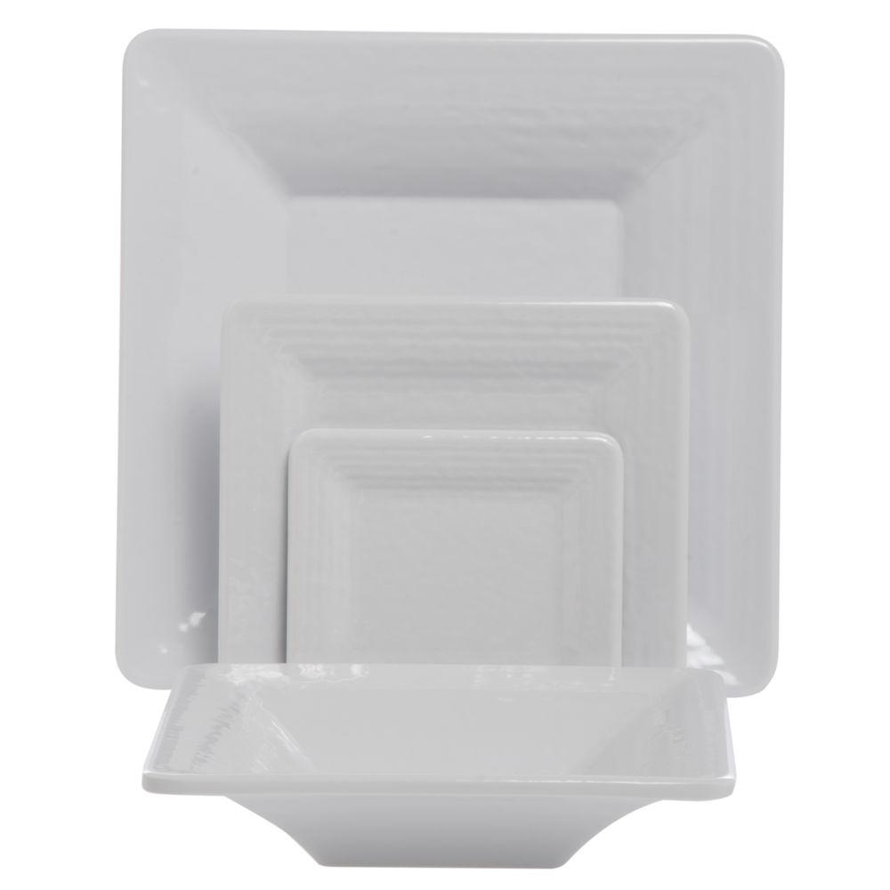 Elite Square Melamine Bowl Pebble Creek 32 Oz 10 x 10 White