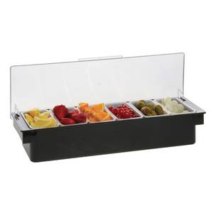 CONDIMENT DISPENSER W/6-1 PT INSERTS, BLK