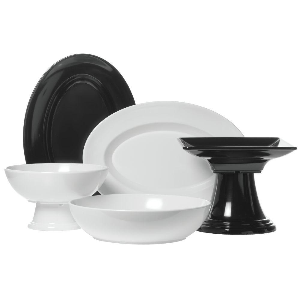 Square 10 1/2 Inch Melamine Bowls in Black