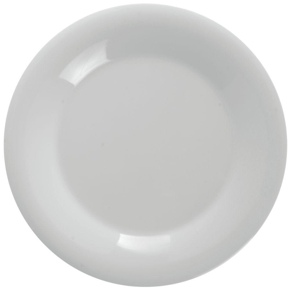 Bright White Melamine Dinner Plates with Wide Rim