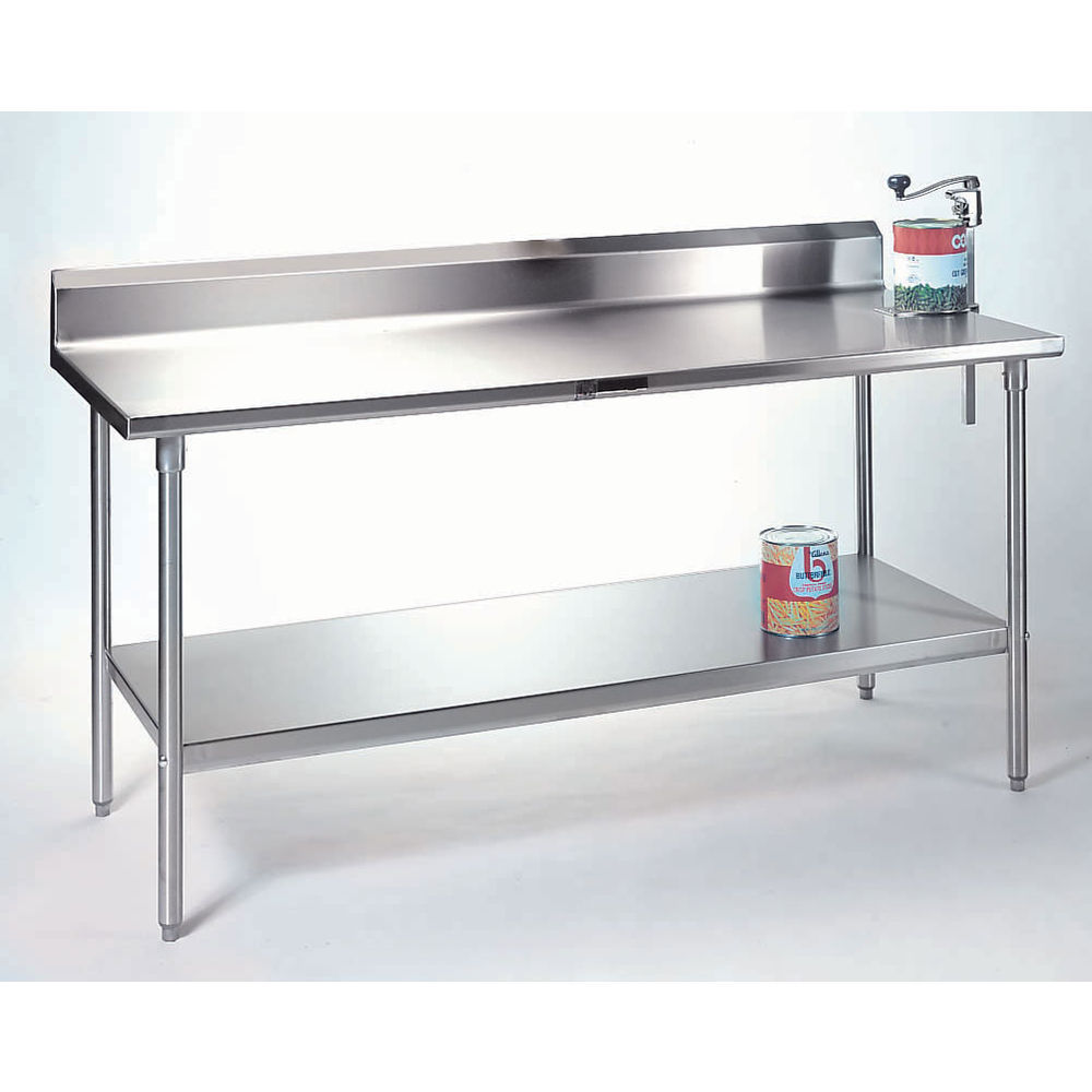 - John Boos Stainless Steel Work Table With Backsplash And Shelf