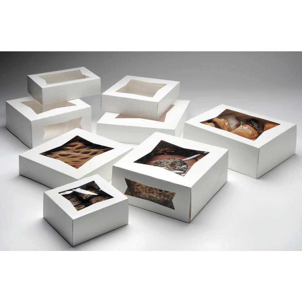 BOX, BKRY, WHITE W/WINDOW, 8X8X2.5, 200/CS