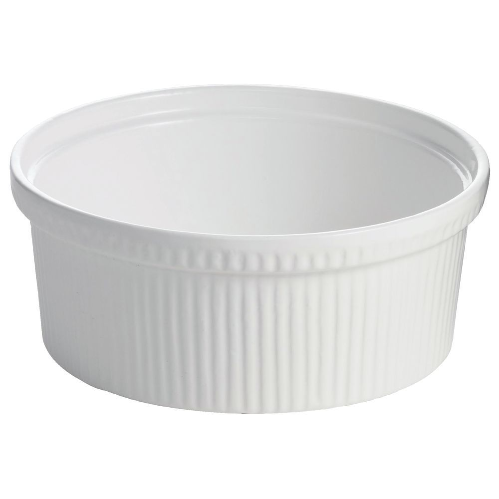 "BOWL, FLUTED, COATED ALUM, 8.5"" DIA, WHITE"