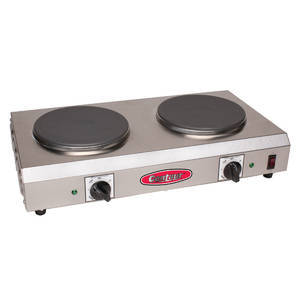 This Double Burner Hot Plate is made with Stainless Steel.