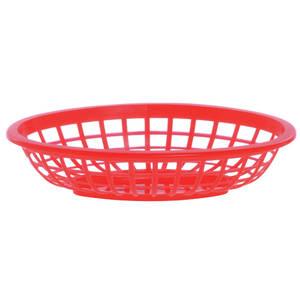 BASKET, SERVING, PLASTIC, SM OVAL, RED
