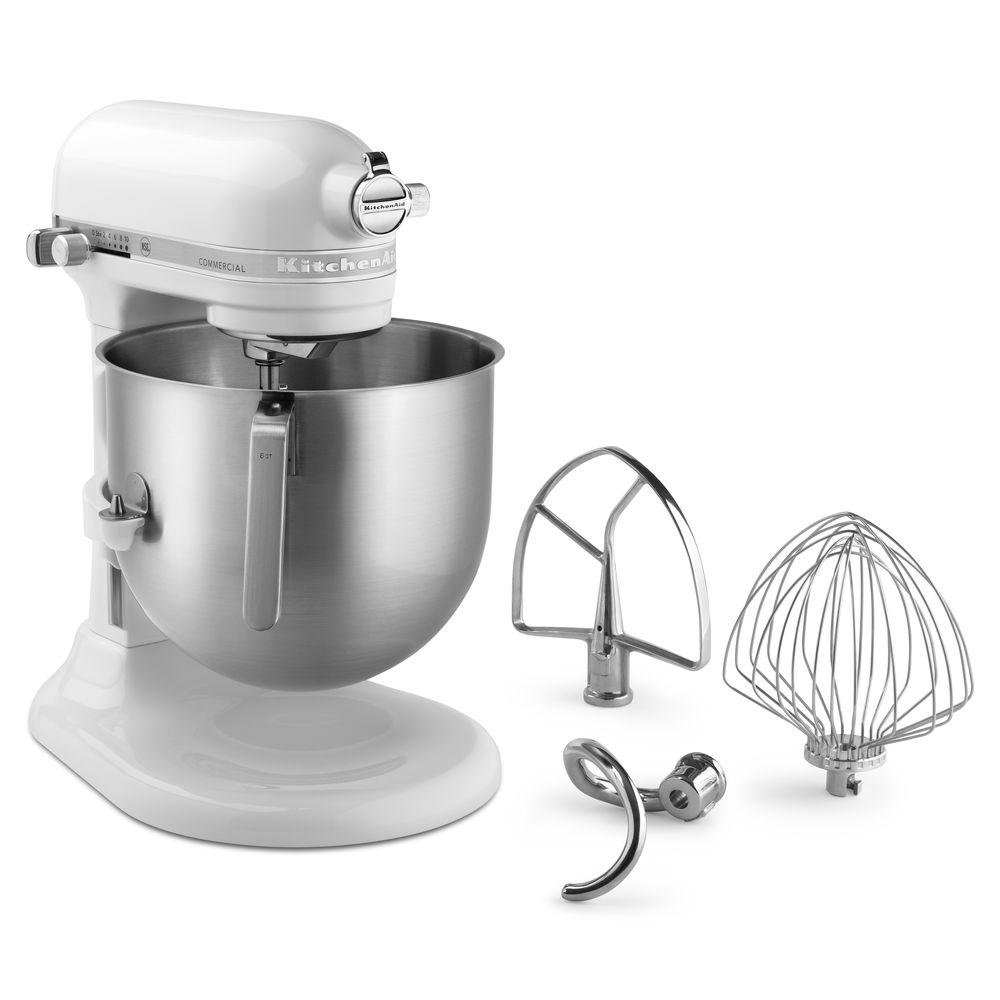 KitchenAid White 1.3 HP Commercial 8 Qt Bowl Lift Stand Mixer - 13 11/32\'L  x 14 19/32\