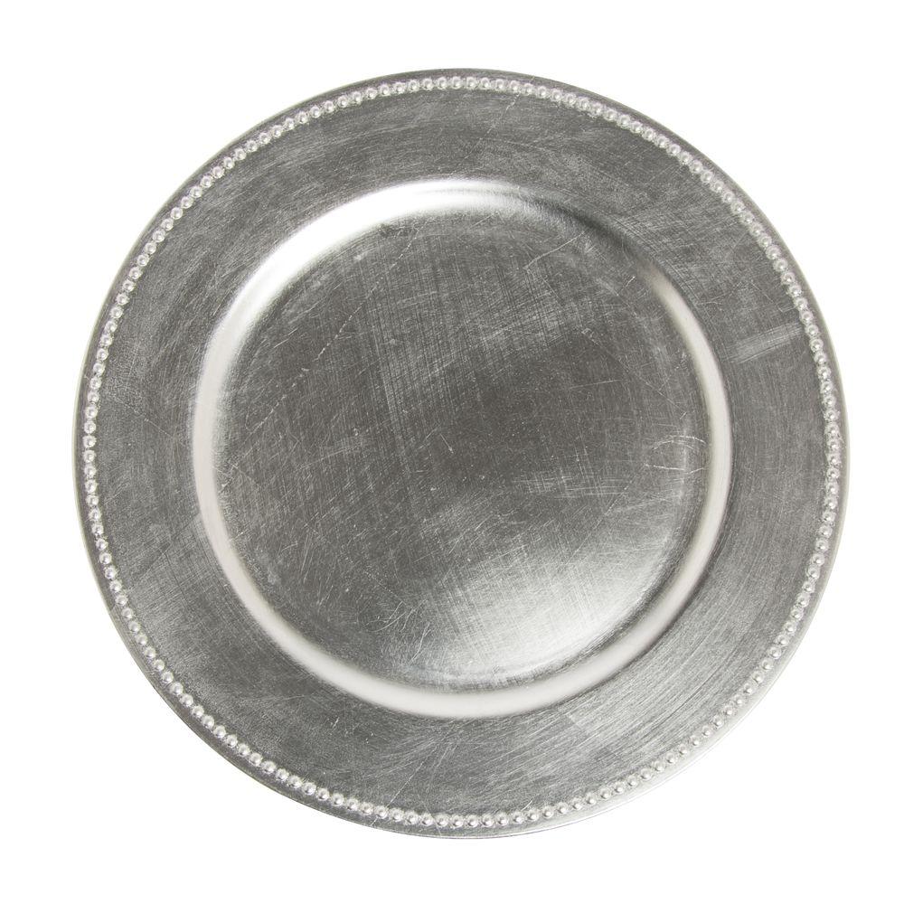 sc 1 st  Hubert.com & Jay Companies Silver Polypropylene Beaded Charger Plate - 13