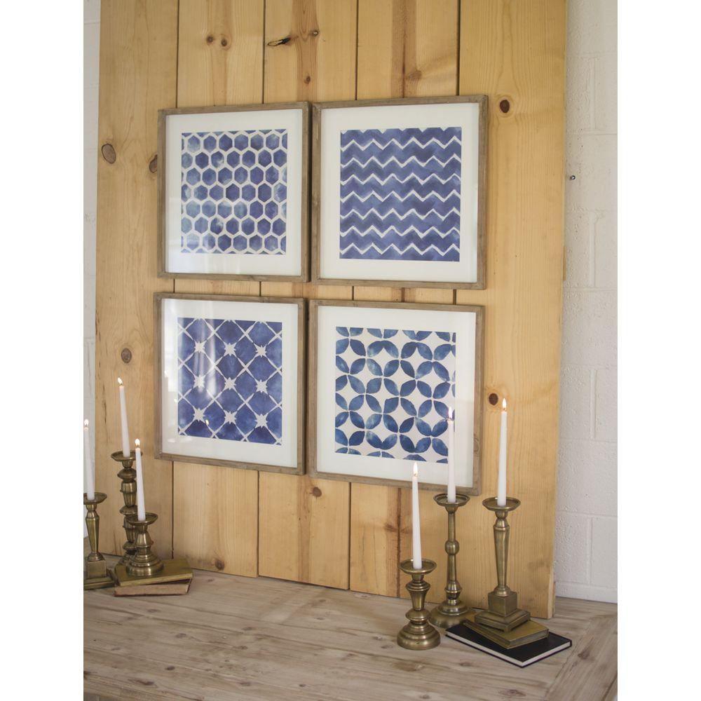 Framed Blue Geometric Wall Art Set 19 34l X 19 34w