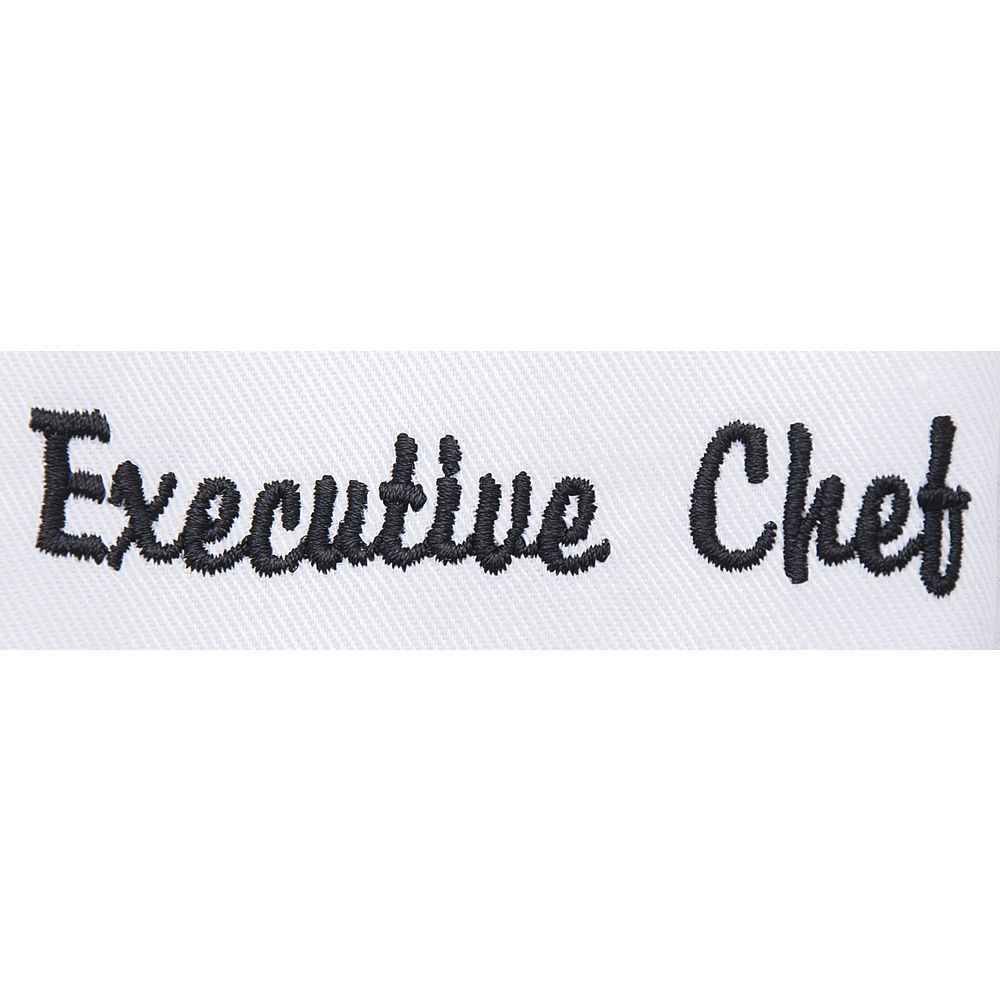COAT, CHEF, VENT, BLACK, EMBROIDERED, LG