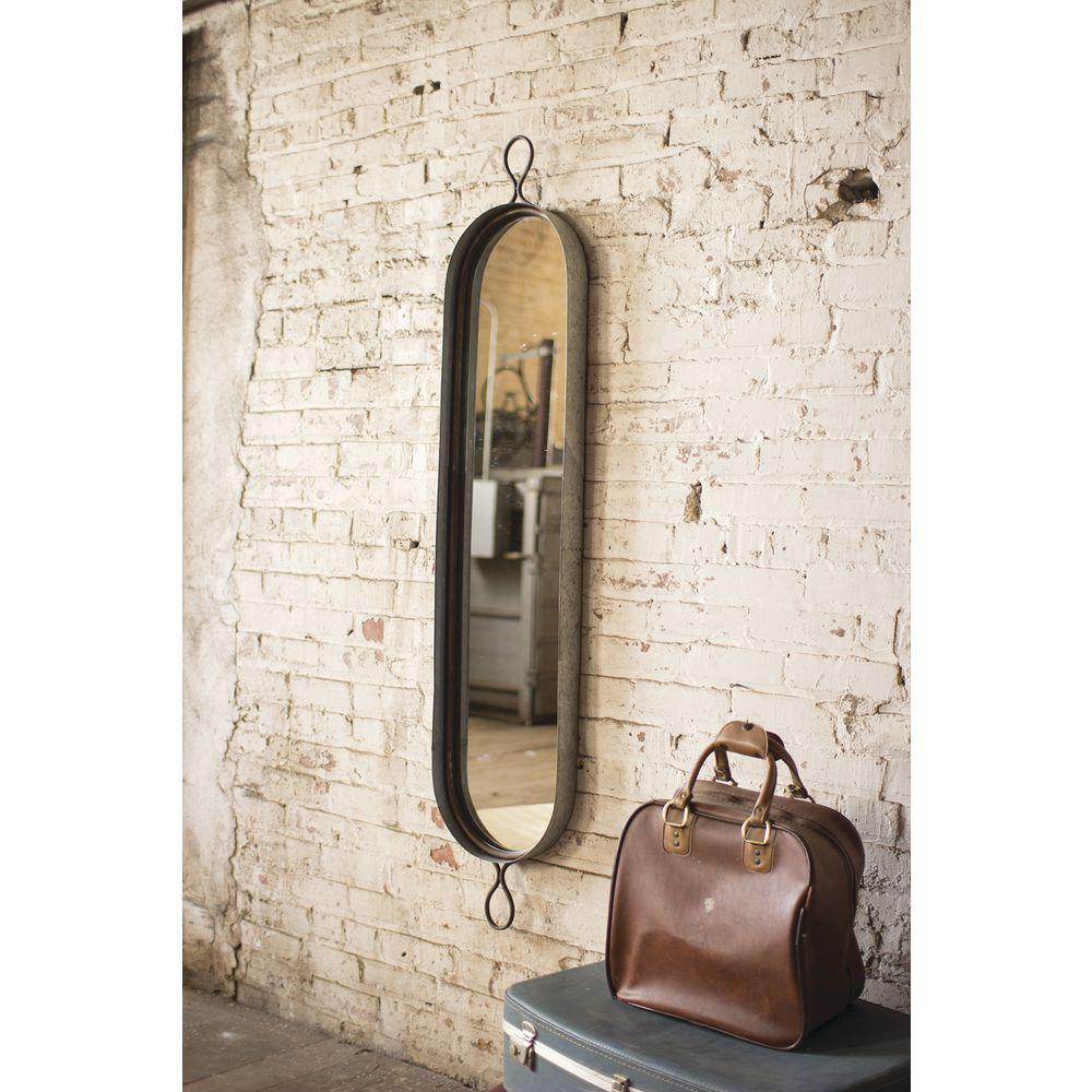 Rustic Grey Metal Frame Mirror 12 1 2 L X 2 1 2 D X 61 H
