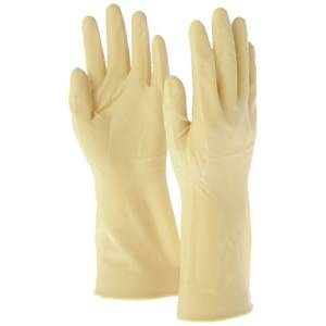 "GLOVES, 12"" UNLINED, RUBBER, SIZE 7/S"