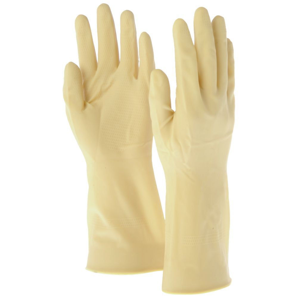 "12"" UNLINED RUBBER GLOVES, SIZE 8/M"