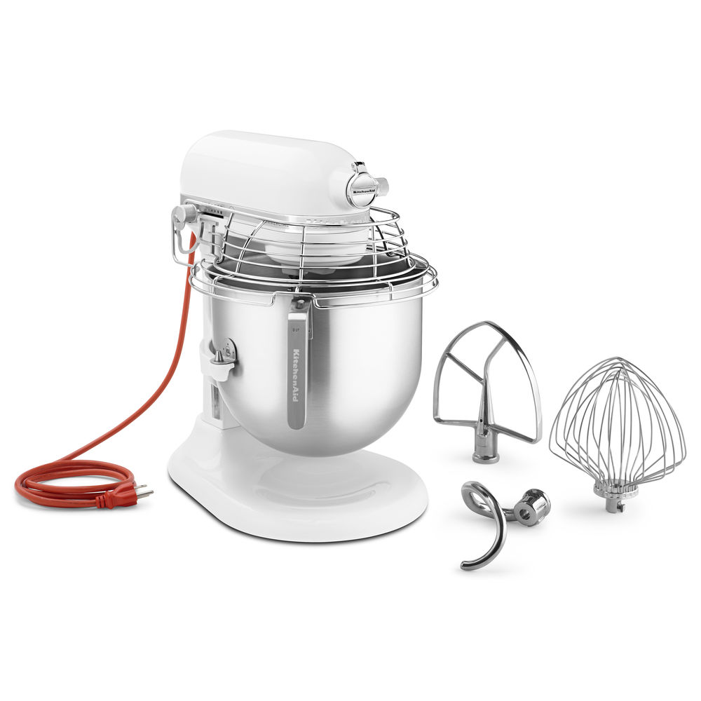 KitchenAid White 1.3 HP Commercial 8 Qt Bowl Lift Stand Mixer With Bowl  Guard - 13 11/32\'L x 14 19/32\