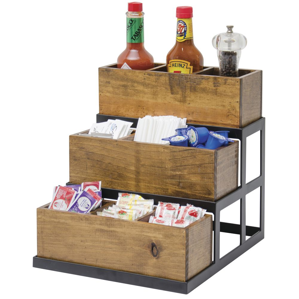 CONDIMENT DISPLAY, 3 BIN/9 SEC, RECL WOOD