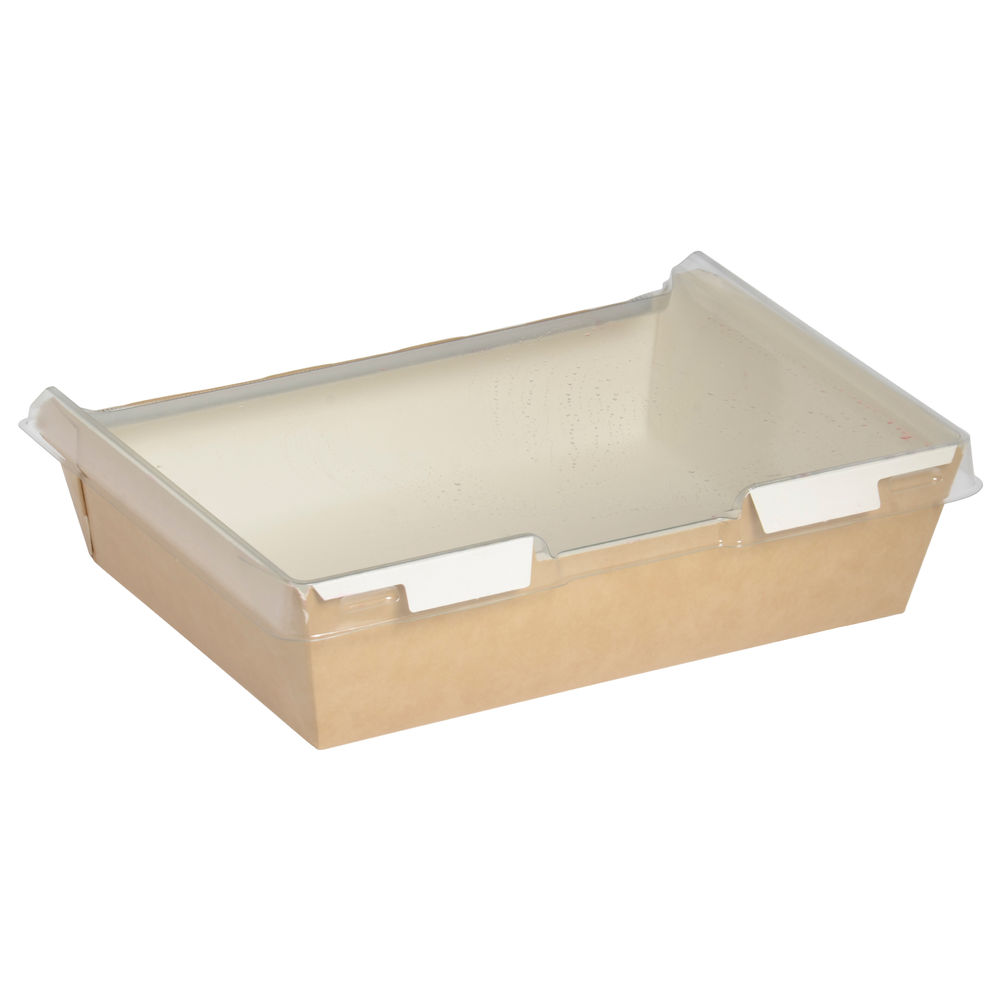 combione 37 5 oz kraft paperboard container with clear ppe fused lid